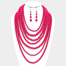 pink beads necklace images Gorgeous bright pink beads multi layer seven strand necklace jpg