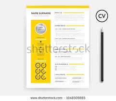 template curriculum vitae creative creative cv resume minimal template yellow stock vector hd royalty