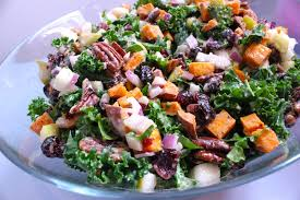 thanksgiving kale salad with maple lemon tahini dressing