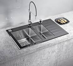 Black Glass Kitchen Sinks Alveus Crystalix 20 Inset Sink Glass Stainless Steel Olif