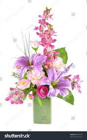 colorful artificial flower arrangement on white stock photo