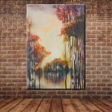 tree mural painting promotion shop for promotional tree mural hand painted red trees oil painting fabric canvas art modern large wall mural picture decoration no frame