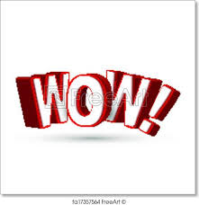 free art print of the word wow in big red 3d letters to show