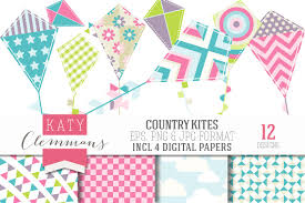 country kites clip art u0026 papers illustrations creative market