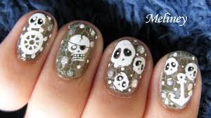 crackle nail polish design halloween pirates of the caribbeans