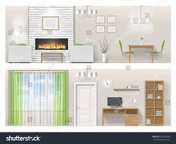 interior bright living room fireplace furniture stock vector