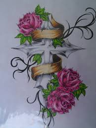 cross tattoos cross banner rose tattoo flash by queenmab6 on