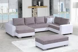 canap faux cuir canapé angle gauche pouf en tissu chiné gris et simili cuir blanc