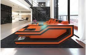 Esszimmerst Le Orange Designersofa Leder Ravenna L Form Led Orange Schwarz