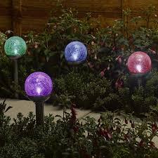 solar globe lights garden smart garden solar rainbow crackle globe light 4 pack on sale