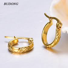 hypoallergenic earrings budong vintage stainless steel huggies hoop earrings women gold