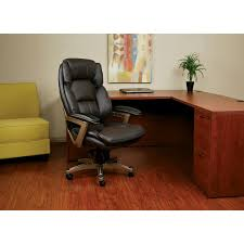 Executive Brown Leather Office Chairs Work Smart Desk Chairs Home Office Furniture The Home Depot