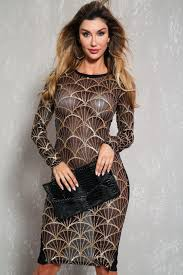 gold party dress black gold sequin sheer mesh sleeve bodycon party dress