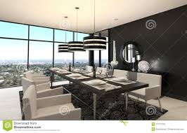 modern design dining room living room interior stock
