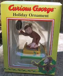 curious george on record player trevco ornament