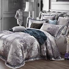 Tribal Pattern Comforter Luxury Jacquard Satin Silver Grey Wedding Bedding Comforter Set