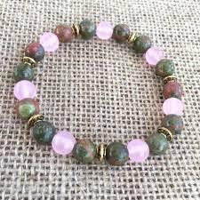 rose quartz stone bracelet images Fertility stone bracelet unakite rose quartz jpg