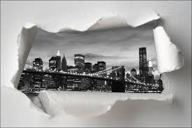 sticker trompe oeil sticker trompe l u0027oeil pont de brooklyn noir et blanc art déco