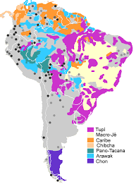 World Map Of South America by Map Of South American Native Language Families Legend Colors For