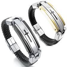 leather stainless steel bracelet images Mendino men 39 s stainless steel leather bracelet braided cuff cross jpg