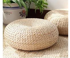 Woven Pouf Ottoman Taian Japanese Style Made Cattail Stem Tatami