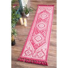 Cotton Flat Weave Rug Nuloom Flatweave Tribal Diamond Dragon Cotton Tassel Pink Runner