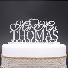 personalized wedding cake toppers custom name date mr mrs acrylic