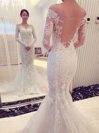 appliques sheer back wedding dress with long sleeve tidebuy com