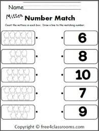 winter number matching worksheet for the numbers 1 to 6 cut and
