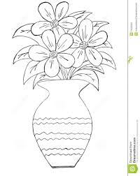 flower vase with flowers drawings for kids great drawing