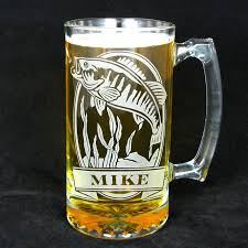 Engraved Groomsmen Gifts 1 Personalized Fish Beer Stein Etched Glass Smallmouth Bass