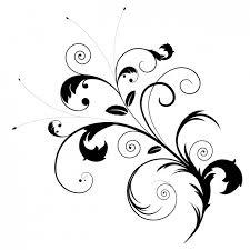 black floral ornament vector free