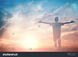 thanksgiving religious images silhouette man hands rise on beautiful stock photo 541488514