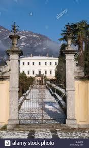 the gate of a villa in tremezzo during the winter lake como