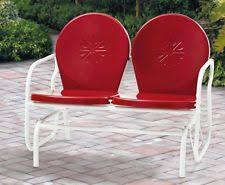 Retro Patio Chair Outdoor Glider Rocker Loveseat Retro Patio Furniture Metal Red
