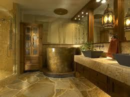 rustic interior design ideas bathroom deep bathtub black over