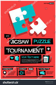 jigsaw quote game jigsaw puzzle tournament retro style poster stock vector 687184783