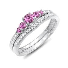 wedding sets on sale half carat pink sapphire and diamond wedding ring set in white