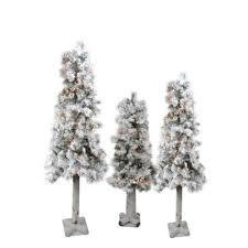 set of 3 pre lit flocked woodland alpine artificial christmas