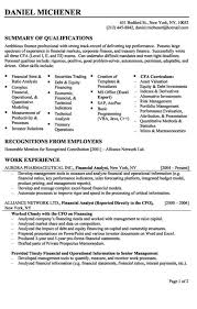 Good Entry Level Resume Examples by Financial Analyst Resume Example
