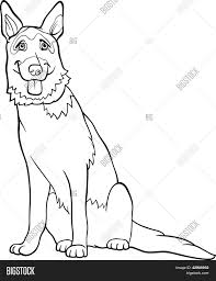 german shepherd dog cartoon for coloring stock vector u0026 stock
