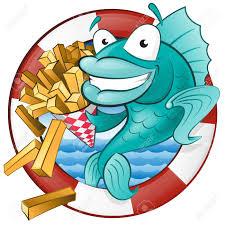 great illustration of a cute cartoon cod fish eating a tasty