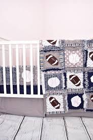 sports crib bedding navy blue gray baby bedding