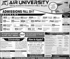 M S University by Air University Islamabad Admission 2017 Bs Bba Ms Mba Entry Test