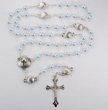 baby rosary blue pearl with shell baby rosary
