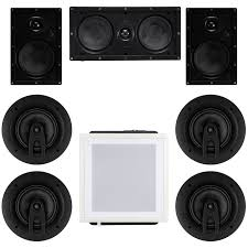 7 1 home theater speaker bundle three in wall speakers four