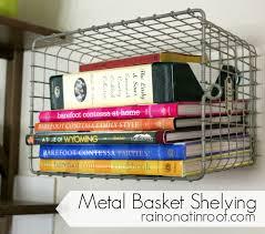 diy metal basket shelving with old locker baskets