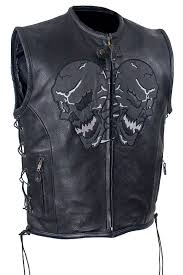 motorcycle jacket vest men u0027s motorcycle reflective skull leather blk vest w 2 gun pockets