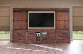 Palliser Wall Unit Bedroom Furniture Rustic Wall Unit With Sliding Barn Doors