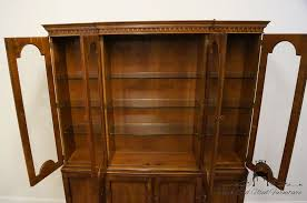 Antique Breakfront China Cabinet by High End Used Furniture Henredon 18th Century Portfolio Mahogany